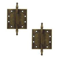 "Deltana Hardware - Solid Brass Ornate Door Hinges - Solid Brass 4 1/2"" x 4 1/2"" Square Door Hinge (Sold as a Pair) in Oil Rubbed Bronze"