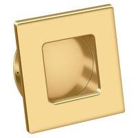 Deltana Hardware - Solid Brass Flush Pulls - Solid Brass Square Flush Pull in PVD Polished Brass