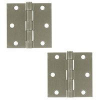 "Deltana Hardware - Steel Hinges - 3"" x 3"" Residential Square Door Hinge (Sold as a Pair) in Satin Nickel"