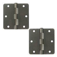 "Deltana Hardware - Steel Hinges - 3 1/2"" x 3 1/2"" 1/4"" Radius/Residential Door Hinge (Sold as a Pair) in Oil Rubbed Bronze"