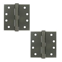 "Deltana Hardware - Steel Hinges - 4"" x 4"" Heavy Duty Square Door Hinge (Sold as a Pair) in Oil Rubbed Bronze"