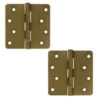 """Deltana Hardware - Steel Hinges - 4"""" x 4"""" 1/4"""" Radius/2 Ball Bearing/Residential Door Hinge (Sold as a Pair) in Oil Rubbed Bronze"""