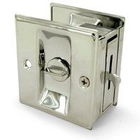 "Deltana Hardware - Solid Brass Pocket Locks - Solid Brass 2 1/2"" x 2 3/4"" Privacy Pocket Lock in Polished Nickel"