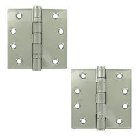 "Deltana Hardware - Stainless Steel Hinges - Stainless Steel 4"" x 4"" 2 Ball Bearing Square Door Hinge (Sold as a Pair) in Polished Stainless Steel"