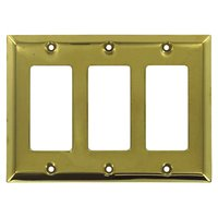 Deltana Hardware - Solid Brass Switchplates - Solid Brass Triple Rocker Switchplate in PVD Brass