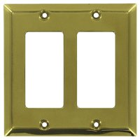 Deltana Hardware - Solid Brass Switchplates - Solid Brass Double Rocker Switchplate in PVD Brass