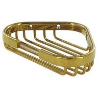 """Deltana Hardware - Solid Brass Bathroom Baskets - Solid Brass 6"""" Corner Wire Basket in PVD Brass"""