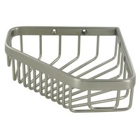 "Deltana Hardware - Solid Brass Bathroom Baskets - Solid Brass 6"" Corner Pentagon Wire Basket in Satin Nickel"