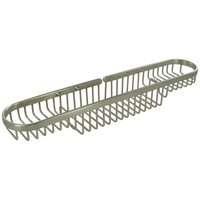 "Deltana Hardware - Solid Brass Bathroom Baskets - Solid Brass 18"" Rectangular Combination Wire Basket in Satin Nickel"