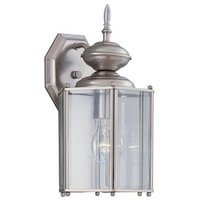 Designers Fountain - Beveled Glass Lantern - Exterior Wall Lantern in Pewter with Clear