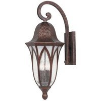 Designers Fountain - Berkshire - Exterior Wall Lantern in Burnished Antique Copper with Clear & Frosted Seedy