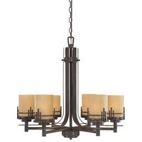 Designers Fountain - Mission Ridge - Interior Chandelier in Warm Mahogany with Navajo Dust