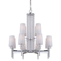 Designers Fountain - Candence - 12 Light Chandelier in Chrome with Silver Organza Fabric