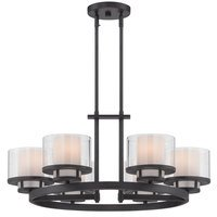 Designers Fountain - Fusion - 6 Light Chandelier in Biscayne Bronze with Clear and Frosted