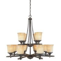 Designers Fountain - Austin - Interior Chandelier in Weathered Saddle with Satin Crepe