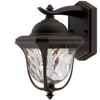 "Designers Fountain - Marquette - 8"" LED Wall Lantern in Aged Bronze Patina with Clear Hammered"
