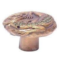 "Edgar Berebi - Flora & Fauna - 1 1/2"" Knob Lizard with Peridot Swarovski Crystal in Museum Gold"