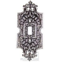 Edgar Berebi - Switchplate - Single Toggle Switchplate Swarovski Crystal in Burnish Silver