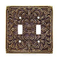 Edgar Berebi - Switchplate - Double Toggle Switchplate Burgundy Swarovski Crystal in Museum Gold