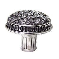 "Edgar Berebi - Hampton - 1 5/8"" Hampton Knob w/ Swarovski Crystal in Burnish Silver"