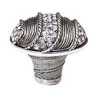 "Edgar Berebi - Waldorf - 1 3/8"" Waldorf Knob w/ Swarovski Crystal in Burnish Silver"