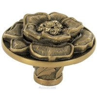 "Edgar Berebi - Flora & Fauna - 1 9/16"" Diameter Floral View Knob in Museum Gold with with Light Colorado Swarovski"