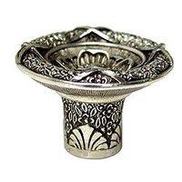 "Edgar Berebi - Tremont - 1 1/2"" Floral View Knob in Burnish Silver"
