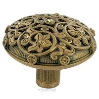 "Edgar Berebi - Assorted Knobs - 1 11/16"" Diameter Knob in Museum Gold with with Light Colorado Topaz Swarovski"