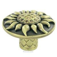 "Edgar Berebi - Flora & Fauna - 1 5/16"" Diameter Sunflower Knob in Burnished Brass with with Light Colorado Swarovski"