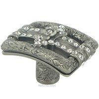 "Edgar Berebi - Kingsbury - 1 7/16"" Rectangle Kingsbury Knob in Antique Nickel with with Clear Swarovski"