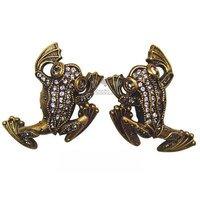 Edgar Berebi - Flora & Fauna - Knob Pair with Silk Swarovski Crystal in Museum Gold