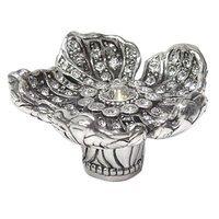 Edgar Berebi - Flora & Fauna - Knob Clear Swarovski Crystal in Burnish Silver