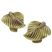 Edgar Berebi - Chandler - Leaf Knob (Right and Left Pair) in Florentine Gold with with Light Colorado Topaz Swarovski