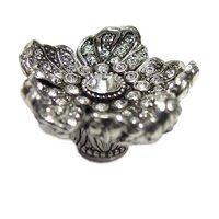 Edgar Berebi - Flora & Fauna - Knob with Clear Swarovski Crystal in Burnish Silver