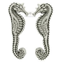 "Edgar Berebi - Seaside - 3 1/2"" Centers Seaside Handle (Right and Left Pair) in Matte Silver with with Clear Swarovski"