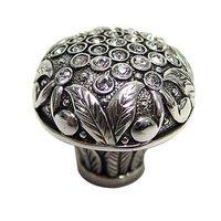"Edgar Berebi - Trescott - 1 1/8"" (29mm) Trescott Knob with Clear Swarovski Crystal in Burnish Silver"