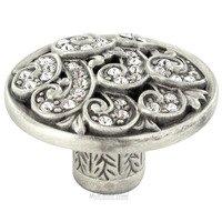 "Edgar Berebi - Somerset - 1 5/16"" Diameter Somerset Knob in Matte Silver with with Clear Swarovski"