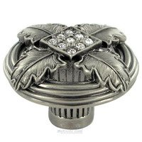 "Edgar Berebi - Hollis - 1 3/8"" Diameter Hollis Knob in Antique Nickel with with Clear Swarovski"