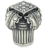 "Edgar Berebi - Hollis - 3/4"" Diameter Hollis Mini Knob in Burnish Silver with with Clear Swarovski"