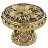 "Edgar Berebi - Assorted Knobs - 1 5/16"" Diameter Fleur De Lis Knob in Antique Nickel"