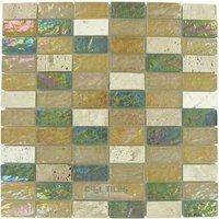 "Elida Ceramica - Emperial Tile - Glass & Stone - 12""x12"" Glass Mosaic in Kaki Brick"