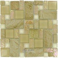 "Elida Ceramica - Elite Tile - Glass & Stone - 12""x12"" Glass Mosaic in Sand Slate"