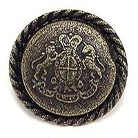 Emenee - Button - Crest with Rope Edge Knob in Antique Matte Silver