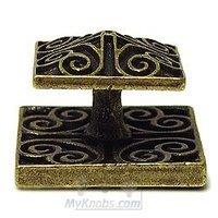 Emenee - Medici - Square Swirl Knob in Aged Brass