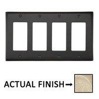 Emtek Hardware - Switchplates - Quadruple Rocker Colonial Wallplate in Tumbled White Bronze