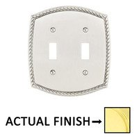 Emtek Hardware - Switchplates - Double Toggle Rope Wallplate in Lifetime Brass