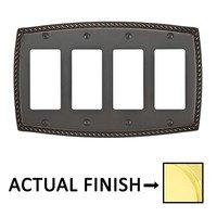 Emtek Hardware - Switchplates - Quadruple Rocker Rope Wallplate in Oil Rubbed Bronze