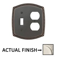 Emtek Hardware - Switchplates - Single Toggle/Single Outlet Rope Wallplate in Lifetime Brass