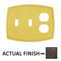 Emtek Hardware - Switchplates - Double Toggle/Single Outlet Rope Wallplate in Lifetime Brass