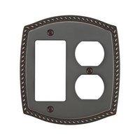 Emtek Hardware - Switchplates - Single Rocker/Single Outlet Rope Wallplate in Lifetime Brass